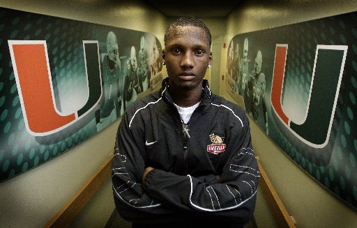 Jacory Harris inside UM's newly decorated Hecht Athletic Center