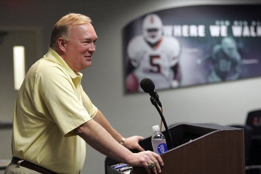 Mark Whipple addresses the media Tuesday afternoon inside the Edgerrin James room on the UM campus.