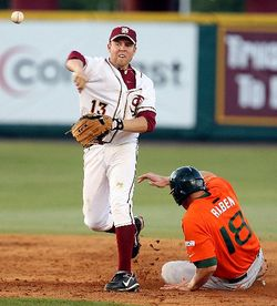 FSU second baseman Jason Stidham hit a two-run home run off UM starter Chris Hernandez earlier this year.