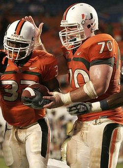 AJ Trump (right) started 10 games last season and will be an integral part of UM's line this year at center.