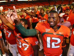 Canes share postgame celebration with the student section.