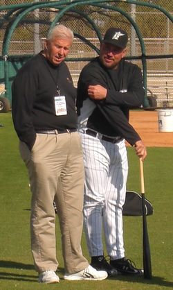 Bill Parcells and Fredi Gonzalez chatted during morning stretches at Roger Dean Stadium.