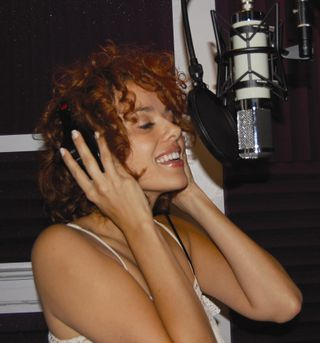 Janet Dacal in recording studio - photo by Jeremy Roberts