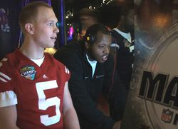 Harland Gunn takes on a Wisconsin player in Madden 2010
