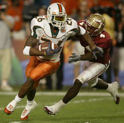 Sean Taylor's interception return for a touchdown against the Seminoles is Brandon Harris' fondest memory of the UM-FSU rivalry.