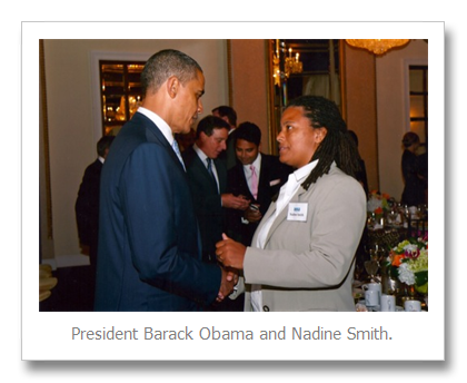 Photo of Nadine with Pres. Obama