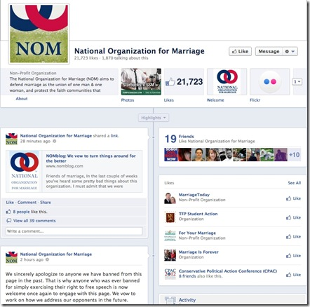 It appears the National Organization for Marriage has been hacked on its ...