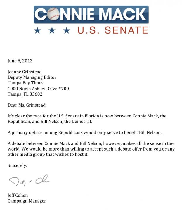 Connie mack i dont need to debate republicans in senate primary full stopboris Gallery