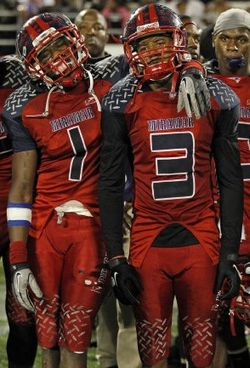 Miramar WR Malcolm Lewis (#1) and CB Tracy Howard (#3)