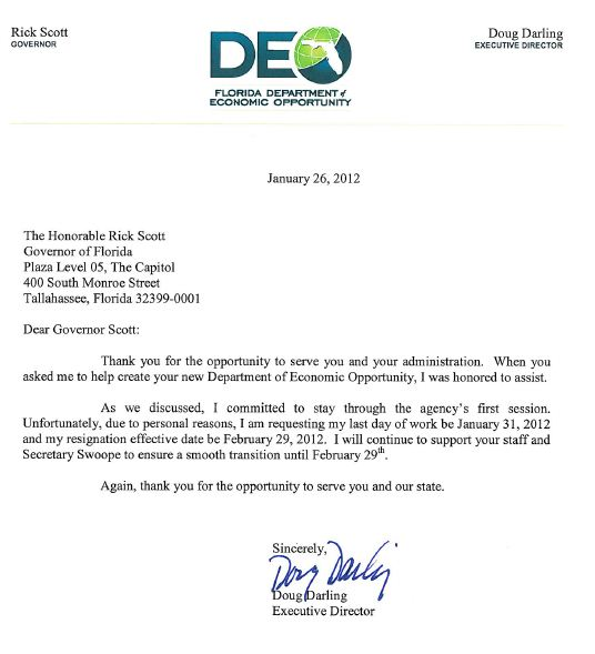 Resignation letter to agency gallery letter format formal sample doug darling head of floridas economic development agency resigns darlingresignationletter expocarfo gallery spiritdancerdesigns Choice Image