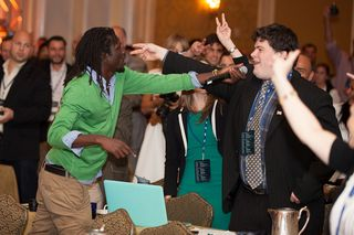 Emmanuel Jal raps with crowd abc Forum