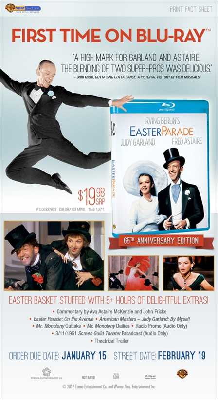 Warner Home Video on Tuesday announced that Irving Berlin's Easter Parade, ...