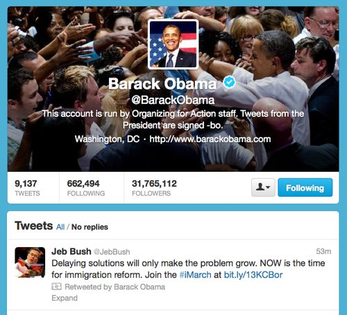 When Barack Retweeted Jeb: Bipartisan Immigration-reform