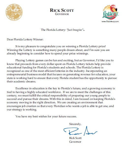 Governor takes congratulations to new level with note to lottery lottery letter thecheapjerseys Choice Image