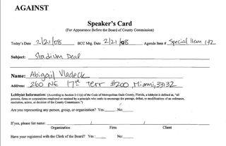 Speaker's card