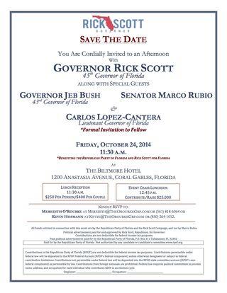 Rick Scott's Oct. 24 fundraiser