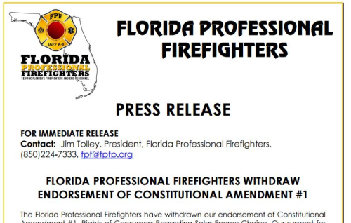 Firefighters Withdraw Endorsement Of Amendment 1 Demand